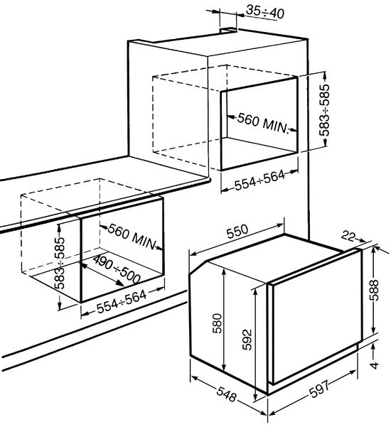 Схема монтажа духового шкафа