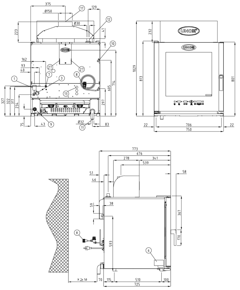 Схема монтажа UNOX XVC 515 G