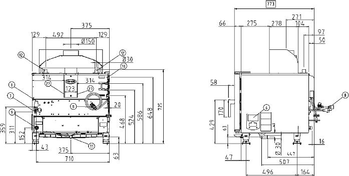 Схема монтажа UNOX XVC 315 EG